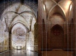 [Rekonstruktion des unterirdischen Raumes vor Einbau des Gewölbes, Mitte 13. Jh.]